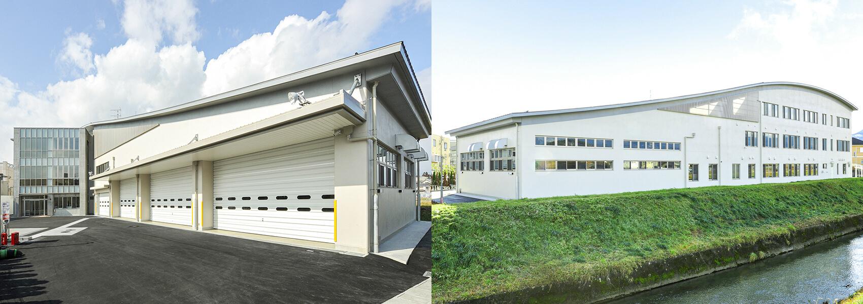 庁舎棟は消防特殊車両の基地になっている